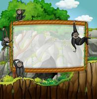 Conception de cadre avec des gibbons à la grotte vecteur