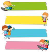 Modèles de bannières avec des enfants sur différents appareils vecteur