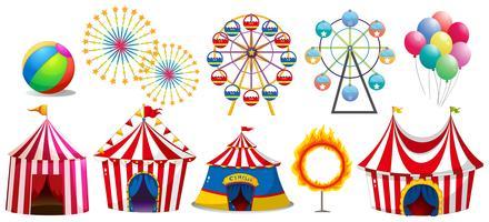 Tentes de cirque et grandes roues vecteur