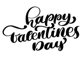 Carte de voeux texte romantique Happy Valentines Day, affiche de typographie avec calligraphie moderne. Style vintage rétro. Illustration vectorielle