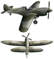 Deux vues d'un avion militaire vecteur