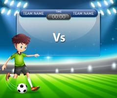 Tableau de pointage avec jeu de football vecteur