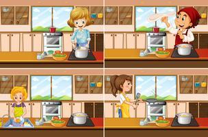Quatre scènes de cuisine avec homme et femme faisant la cuisine vecteur