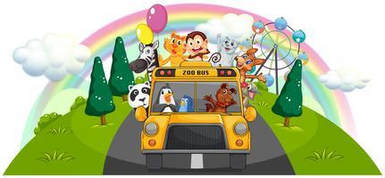 Un bus de zoo jaune sur la route vecteur