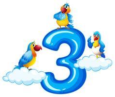 Trois perroquet sur le numéro trois