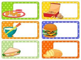 Création d'étiquettes avec de nombreux types d'aliments