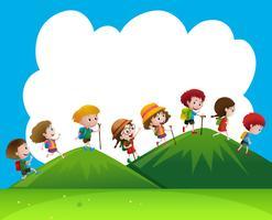 Enfants, randonnée, haut, collines vecteur