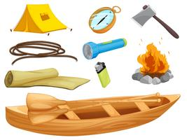 divers objets d'un camp vecteur