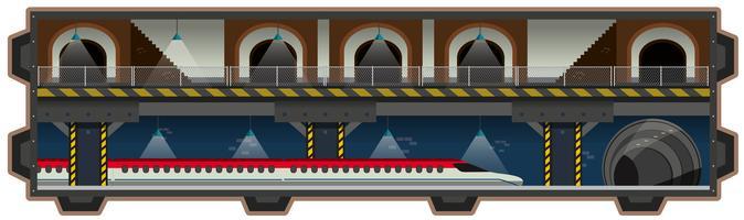 Un rail souterrain sur fond blanc