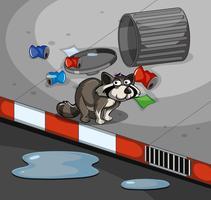 Raton laveur et poubelle sur le trottoir vecteur