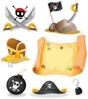 Ensemble de pirates avec carte et armes