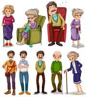 Vieux hommes et femmes dans différentes actions vecteur