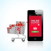 Panier et cadeaux achats en ligne vecteur