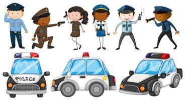 Officiers de police et voitures de police vecteur