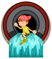 Un enfant à la pipe à déchets