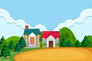 Une scène de village rural vecteur