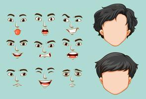 Homme sans visage et différents visages avec émotions vecteur