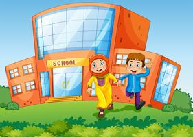 Scène d'école avec deux enfants musulmans vecteur