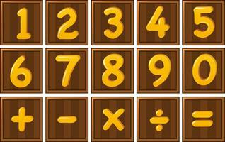 Numéro un à zéro et signes mathématiques sur des planches en bois