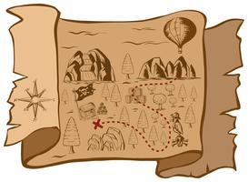 Carte au trésor sur papier brun vecteur