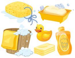 Set de bain en couleur jaune vecteur