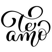 Te Amo t'aime lettrage de vecteur de calligraphie de texte espagnol pour la carte de la Saint-Valentin. Illustration de pinceau, citation romantique pour concevoir des cartes de voeux, tatouage, invitations de vacances