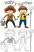 Doodle personnage d'agriculteur heureux vecteur