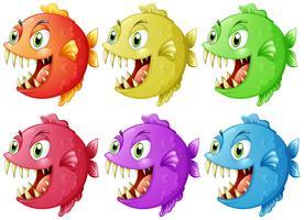 Six poissons aux dents acérées vecteur