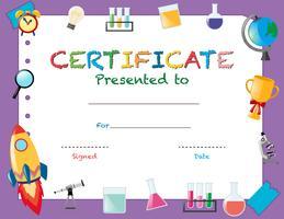 Modèle de certificat avec des objets scolaires