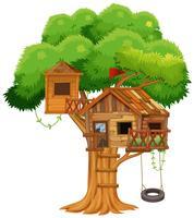 Cabane dans les arbres avec balançoire sur l'arbre