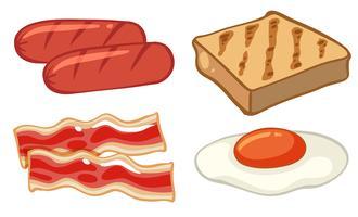 Set de petit déjeuner avec des saucisses et des œufs vecteur