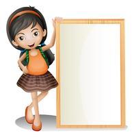 Une jeune femme à côté d'un panneau vide vecteur