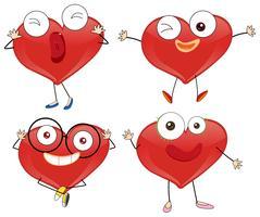 Coeurs rouges avec des visages mignons vecteur