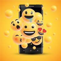 Différents smileys réalistes devant un téléphone portable, illustration vectorielle