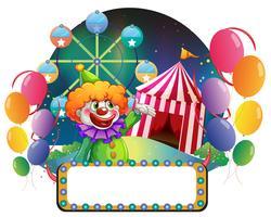 Un panneau vide devant un clown drôle vecteur
