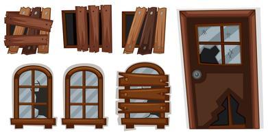 Fenêtres cassées et porte