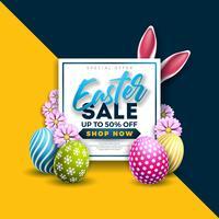 Illustration de vente de Pâques avec un oeuf peint en couleur et un élément de typographie