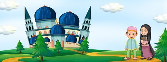 Les musulmans devant la mosquée vecteur