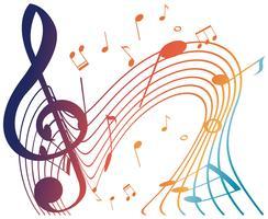 Notes de musique colorées sur fond blanc