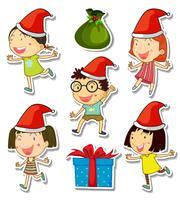 Thème de Noël avec des enfants et des cadeaux vecteur