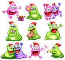 Monstres fêtant Noël vecteur