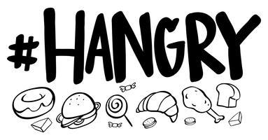 Expression de mot pour hangry avec beaucoup de nourriture vecteur