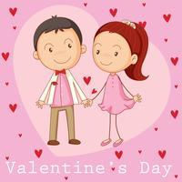 Modèle de carte de Valentine avec petit ami et petite amie vecteur