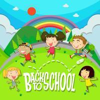 Retour à l'école avec des enfants dans le parc vecteur