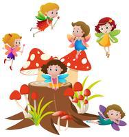De nombreuses fées volant sur des champignons