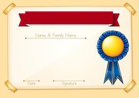 Un modèle vierge de certificat officiel