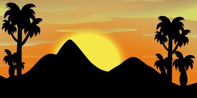 Scène de la silhouette des montagnes au coucher du soleil