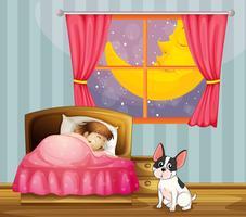 Une fille dort dans sa chambre avec un chien