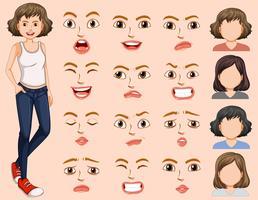 Jeune femme avec une expression faciale différente vecteur