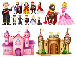 Palais royal et personnages différents vecteur